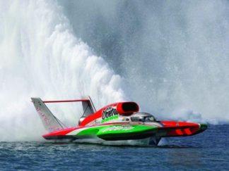 Ferrari Hydroplane racing boat model, handcrafted wood model