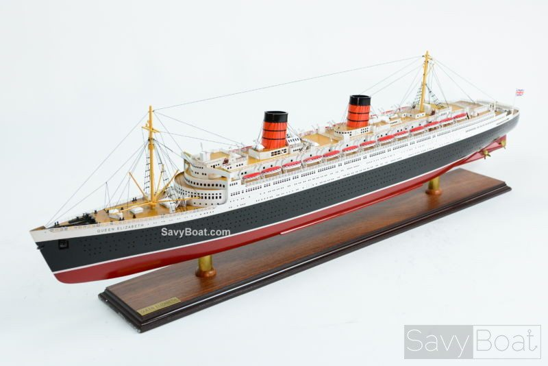 Queen Elizabeth Cunard Line Ocean Liner Wooden Ship Model
