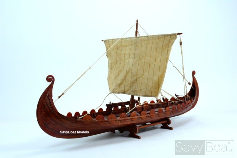 "OSEBERG Viking Ship 34"" - Handcrafted Wooden Boat Model | SavyBoat"