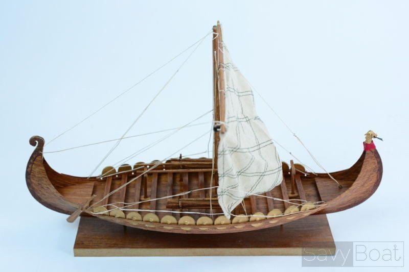 "Viking Clinker Built 16"" Handcrafted Wooden Boat Model"
