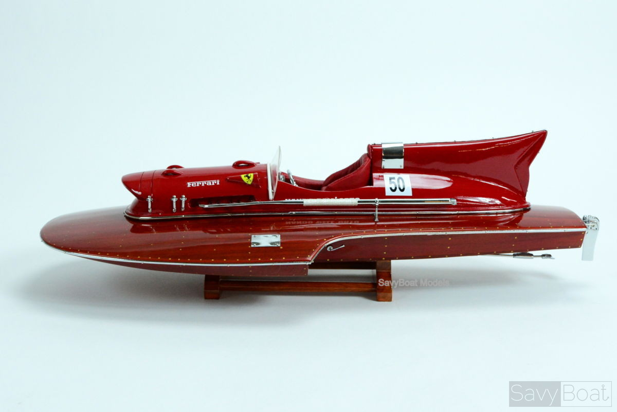 "Ferrari Hydroplane 22"" - Handcrafted Wooden Racing Boat Model"