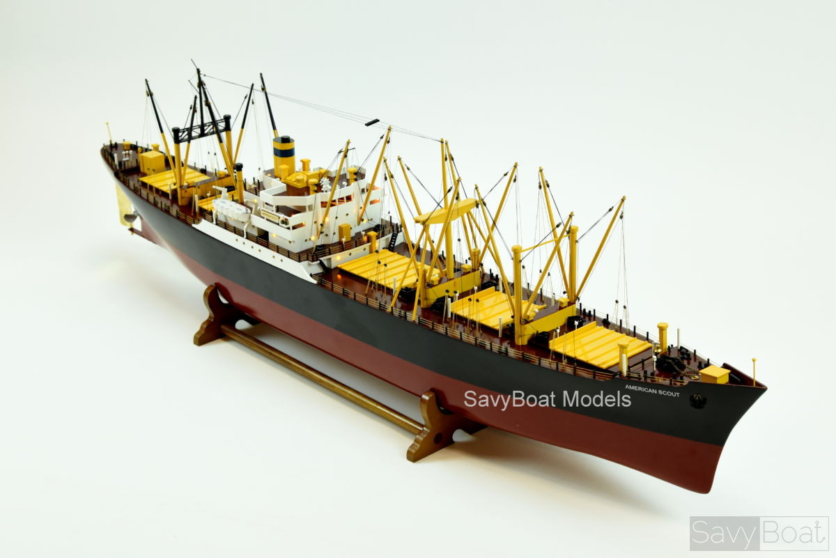 American Scout C 2 Cargo Ship Handcrafted Wooden Model Boat
