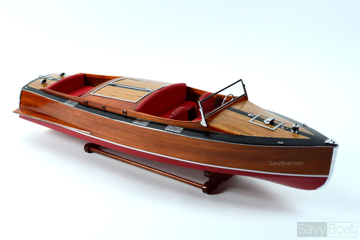 1930 Chris Craft Runabout Mahogany Handcrafted Wooden Model Boat