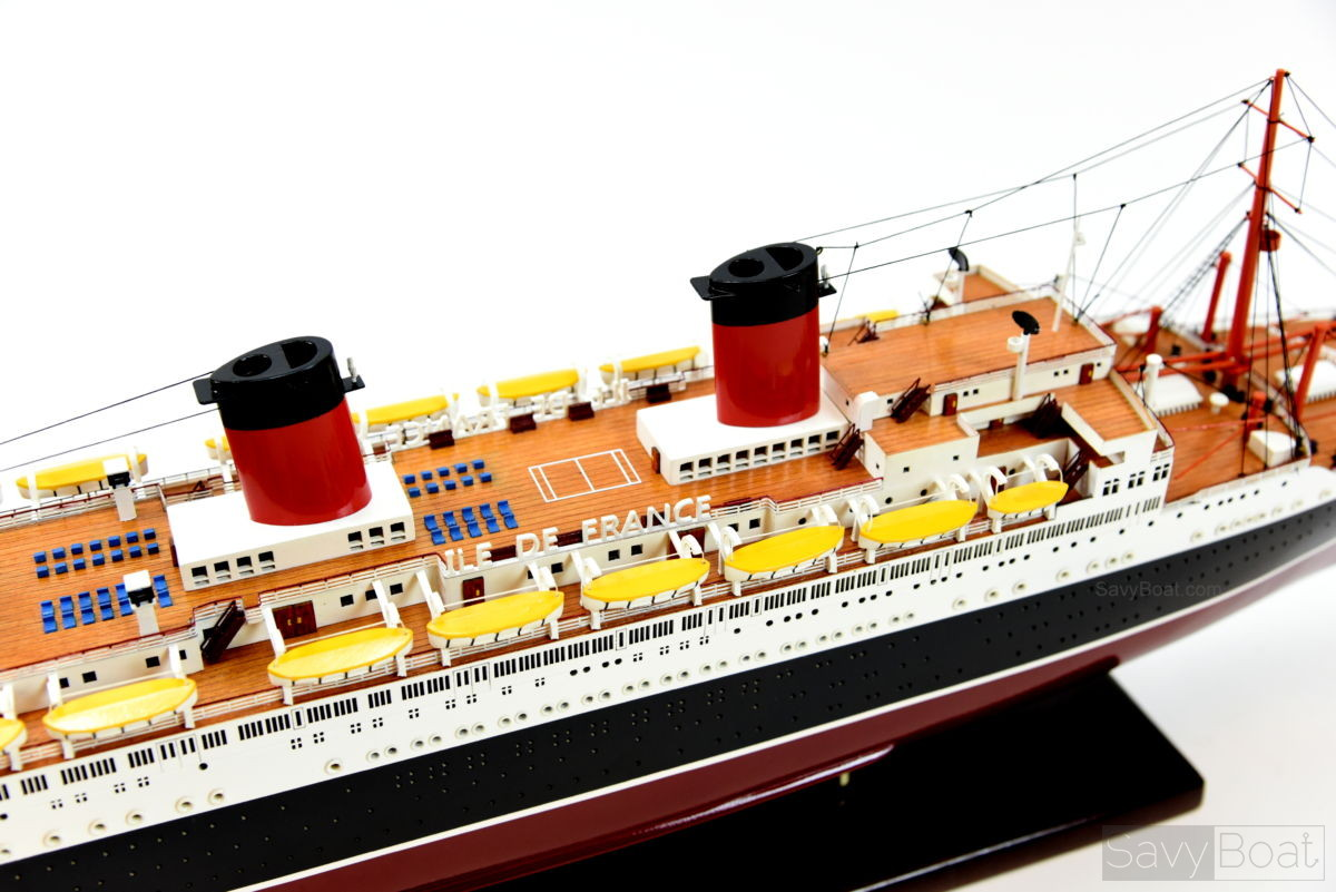 ss ile de france handcrafted wooden ocean liner model ship savyboat. Black Bedroom Furniture Sets. Home Design Ideas