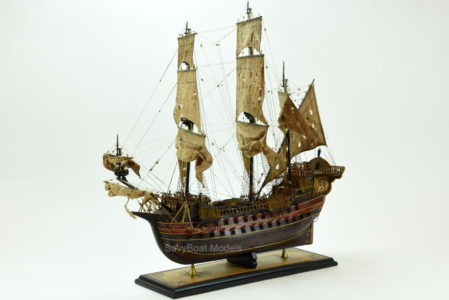 Jolly Roger pirate ship wood model
