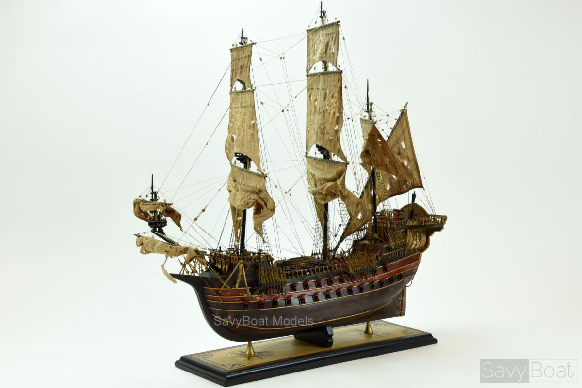 Jolly Roger Pirate Ship Handcrafted Wooden Model Ship High Quality