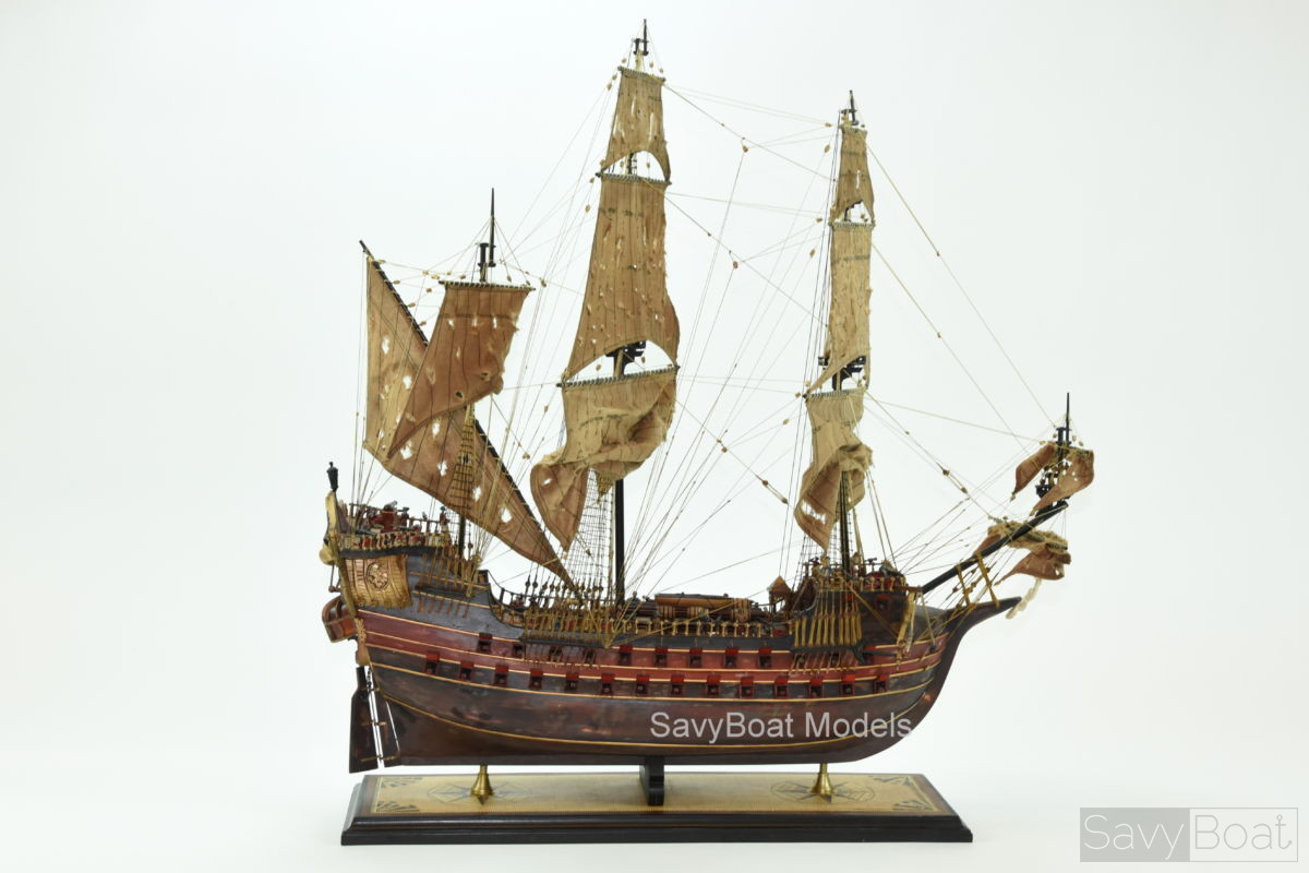 Jolly Roger Pirate Ship Handcrafted Wooden Model Ship High